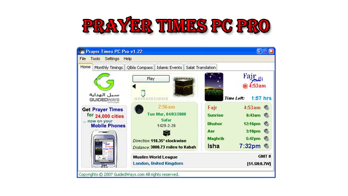 Prayer times pc pro.